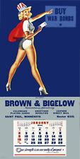 1944 January Pinup Calendar Brown & Bigelow 6.5 x 16.5 GIclee Print