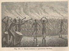 A2360 Danza guerresca dei Bari - Xilografia - Stampa Antica del 1895 - Engraving