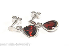9ct White Gold Garnet Teardrop Dangly Earrings Made in UK Boxed Xmas Christmas