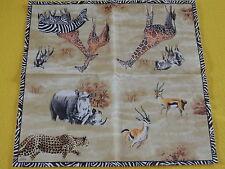 4 Piece Wildlife Africa Leopard Napkins Rhino Giraffe Zebra Serengeti