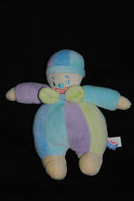 Arlequin Doudou Poupée Clown Bleu Vert Mauve Violet  SUCRE D'ORGE 20 Cm  TTBE
