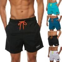 Mens Board Shorts Swimming Hot Pants Trunks Swimwear Zip Pockets Summer Beach US
