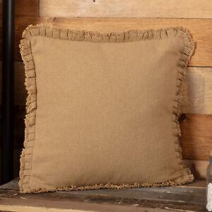 "VHC Brands Farmhouse 18""x18"" Pillow Tan Burlap Natural Cotton Bedroom Decor"