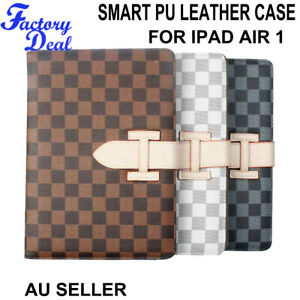 Luxury PU Leather Smart Stand Folio Grid Case Cover For Apple iPad Air 1st Gen
