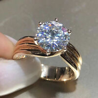 3 ct Round Cut Diamond Solitaire Engagement Ring 14k Yellow Gold Finish