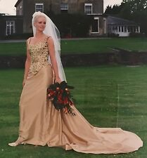 Helen Marina Champagne Wedding Dress Separate Skirt & Bodice Immaculate! UK8/10
