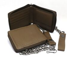 Bifold Light Brown Genuine Leather Scale Texture Zip-Around Wallet with a Chain