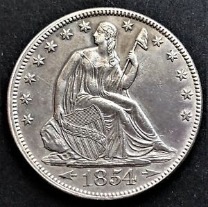 USA/ Half Dollar 1854/ Seated Liberty/ Arrows at Date/ KM.82/ SILVER COIN