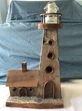 Vintage Handmade Wooden Lighthouse With Hemingray 20 Insulator Folk Art