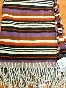 """New! URBAN OUTFITTERS Throw Blanket Wrap Striped Fringe Acrylic Size 54"""" x 50"""""""