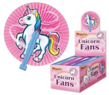 6  Unicorn Paper Folding Fans - Pinata Toy Loot/Party Bag Fillers Wedding/Kids