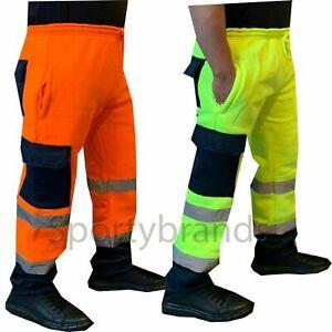 Mens Hi Viz Work Wear Durable Fleece Bottoms Safety Sweat Pants Trousers Joggers