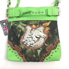 Camo Horse Shoulder Bag Purse Metal Studded Western Camouflage Horseshoe