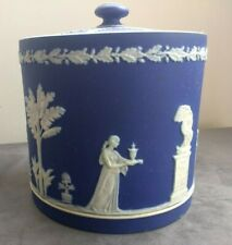 Large Antique Wedgwood Dark Blue Dipped Jasperware Biscuit Barrel