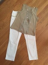 Women's Chico's Sz 1.0 Outfit: Top; Ankle Jeans W/Bling; NWOT Necklace. EUC!