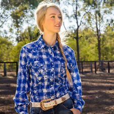 LADIES BRIGALOW LS WESTERN STYLE COTTON SHIRT BLUE/WHITE CHECK SIZES 12 - 16