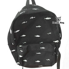 Fancy Fish Black Backpack Canvas Unisex Travel Hiking SchoolBag Rucksack