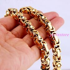 """Men Stainless Steel Byzantine Box Chain Necklace 22"""" 8mm Heavy Hot 18K Gold Tone"""