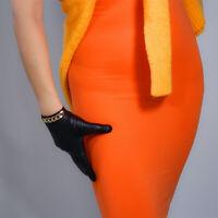 TECH GLOVES Real Leather Genuine Lambskin Sheepskin Black Golden Chain Touch