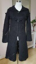 Betty Jackson Gypsy Hippy Boho Black Cosy Wool Mohair Hip Long Cardigan Size 12