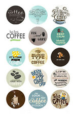 15 x Coffee Bottle Cap Logo Images for Necklaces, Magnets, Scrapbooking, Bows