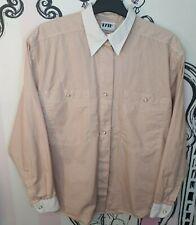 Size 14 Kalb Ligne Pink Striped Gold Pearl Button Long Sleeve Shirt Blouse