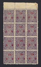 India Travancore State Official 1911-30 1/2ch unused block of 12