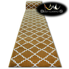 Modern Thick Hall Runner SKETCH TRELLIS gold Width 80 - 120 cm extra long Stairs