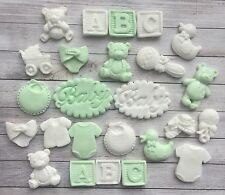 24 mint green & White baby christening edible cupcake toppers READY TO POST