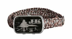 JK Survival Paracord Belt with Survival Supplies stored in the Buckle