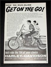 1964 OLD MAGAZINE PRINT AD, HARLEY-DAVIDSON DUO-GLIDE MOTORCYCLE, GET ON THE GO!