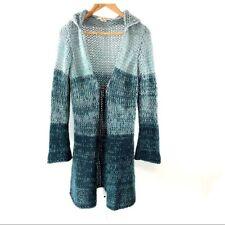 Free People Wool Blend Stripe Long Cardigan Aqua Sweater Waist Tie S/M