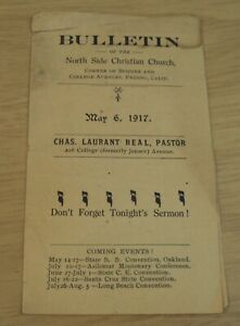 ORIGINAL 1917 'BULLETIN' of the NORTH SIDE CHRISTIAN CHURCH~Fresno CALIF~