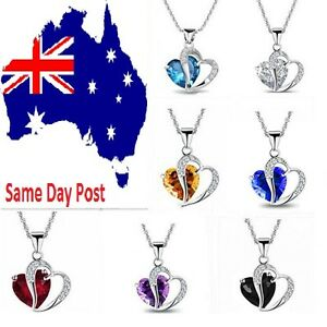Women Heart Crystal Rhinestone Silver Plated Chain Pendant Necklace Jewellery