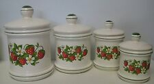 Strawberry Country Kitchen Canister Set 4 Total Made In Japan For Sears