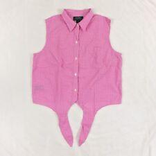 RALPH LAUREN Plaid Checkered Gingham Sleeveless Pink Crop Top Tie Waist 12 EUC