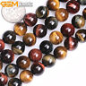 """Multi-Colour Tiger's Eye Gemstone Round Loose Beads For Jewellery Making 15"""" UK"""