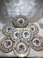"RARE! Royal Bayreuth Bavaria plates 7 3/4"" Scallop floral & gold. Set of 8"