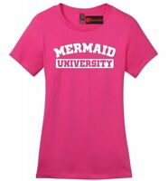 Mermaid University Ladies V-Neck T Shirt Funny School College Party Gift Tee Z4