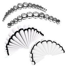 Stretching Kit White Tapers Tunnel Plugs Stainless Steel 14G-20mm 60-Pieces