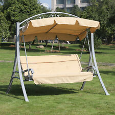 A-Frame 3 Seat Metal Swing Chair Hammock w/ Canopy Cover and Cushions