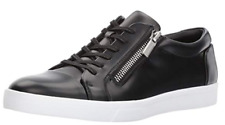 $120 size 11 Calvin Klein Ibrahim Black Leather Lace Up Low Sneakers Mens Shoes