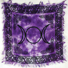 """NEW IN PACKAGE Triple Moon Altar Cloth 18"""" Purple Wicca Pagan Rayon Fringed"""