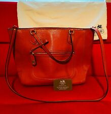 Authentic Saffiano Texture Leather Coach Orange Tote with duster bag C1380-25042