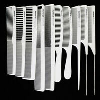 10Pcs/set Hairdresser Carbon Comb White Color Heat Resistant Hair Cutting Comb
