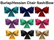 25 Natural Burlap Jute Hessian Chair Sashes Bows Sash Wedding Event Decoration