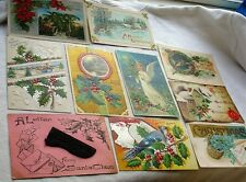 Vintage Antique Christmas Postcard PC Lot Santa Stocking Embossed Angel