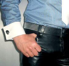 Manchetten Börse weiss Leder Totenkopf cuffs leather white skull wallet purse