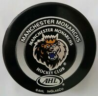 MANCHESTER MONARCHS RARE  AHL INGLASCO  OFFICIAL GAME PUCK MADE IN CANADA
