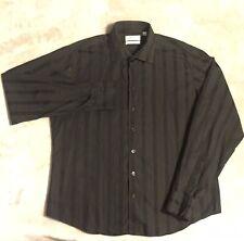 Rare YSL Yves Saint Laurent Black/Jet Black All Over Striped LS Shirt (XL)